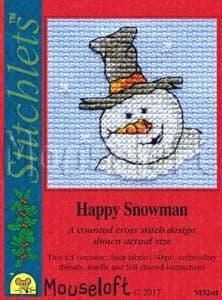 Mouseloft Happy Snowman Card Christmas Stitchlets cross stitch kit